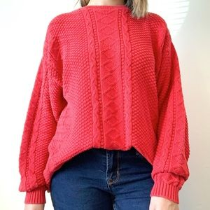 Vintage Lion's Pride Red Cable Knit Sweater M